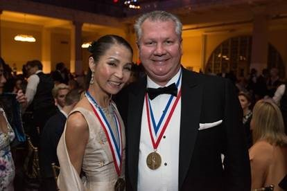 Heather Choi, a member of the Hackensack Meridian Health Hackensack University Medical Center Foundation Board of Trustees (left) and Ihor S. Sawczuk, M.D., president of Hackensack Meridian Health Hackensack University Medical Center (right), have been honored by the National Ethnic Coalition of Organizations (NECO), as recipients of the 2017 Ellis Island Medal of Honor.